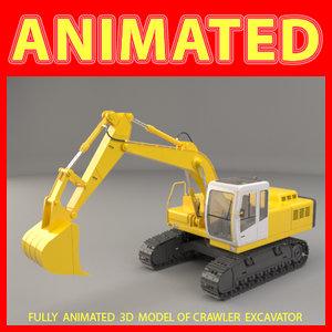 realistic crawler excavator 3d model
