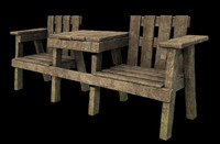 wooden chairs table 3d model
