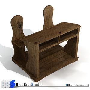 ancient school desk 3d model