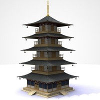 3d lwo japanese building