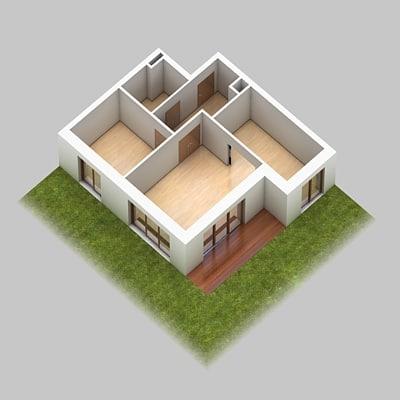 scene set interior cross section 3d model