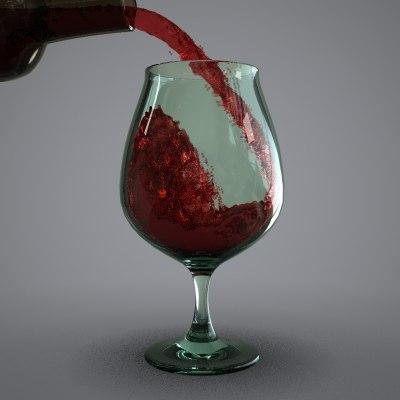 glass wine animation 3d model