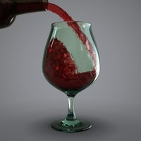 glass wine animation 3d model