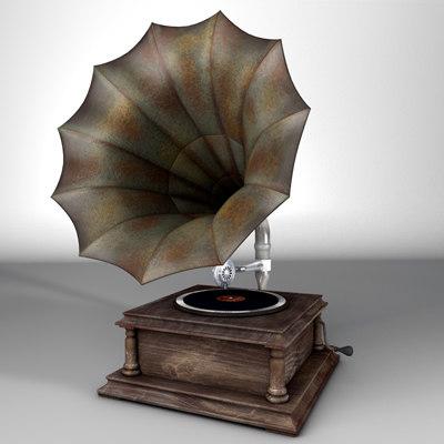gramophone modelled 3d model