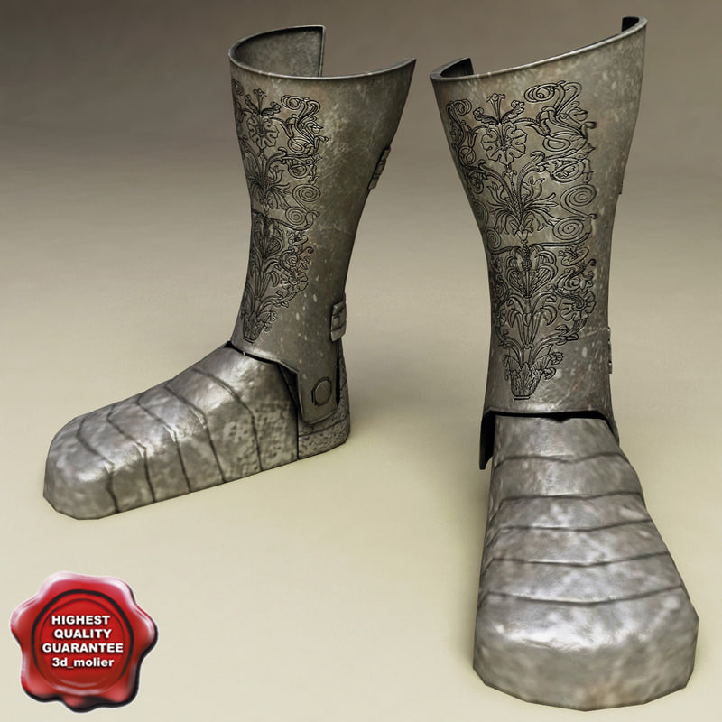 medieval armour boots v2 3d model