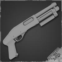 870 compact shotgun 3d model