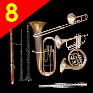 bassoon oboe flute clarinet 3d model