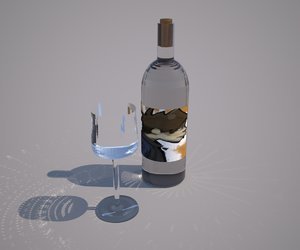 wine bottle glass 3d model
