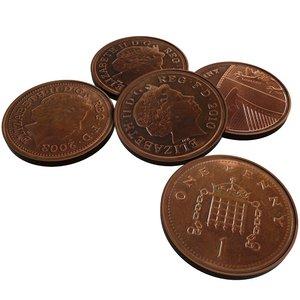 british 1 penny 2003 3d model