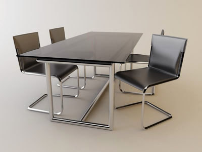ligne roset table chairs 3d model