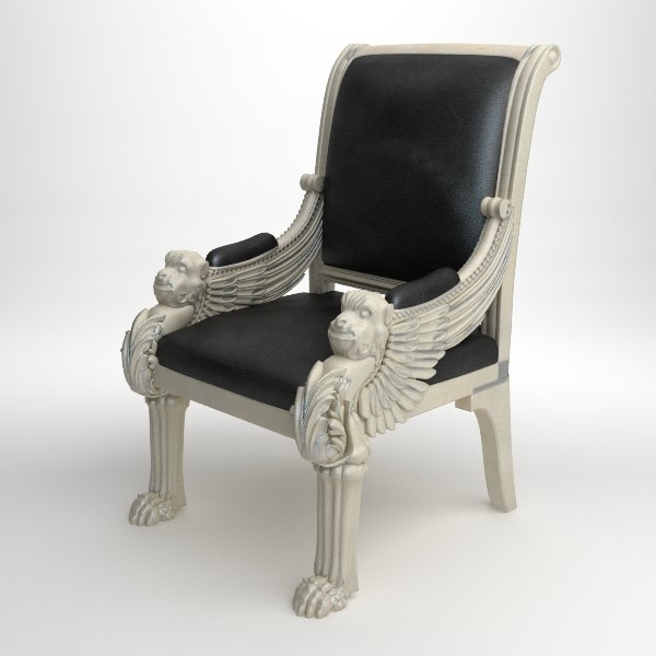 qualitative royal leather armchair 3d model