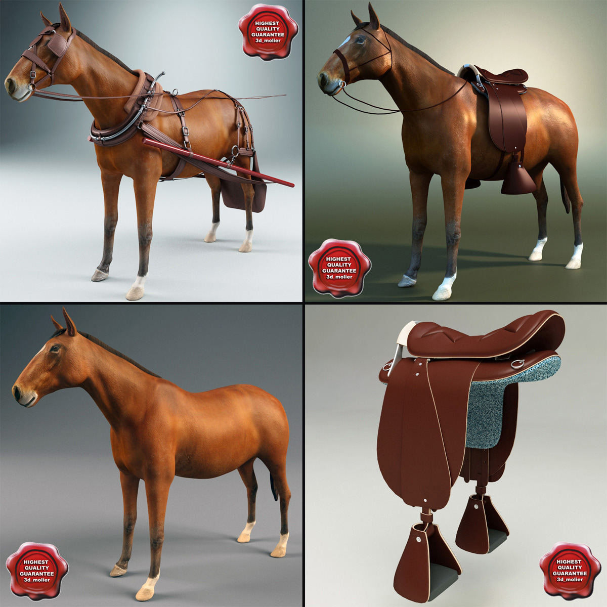 harnessed horses 3d model