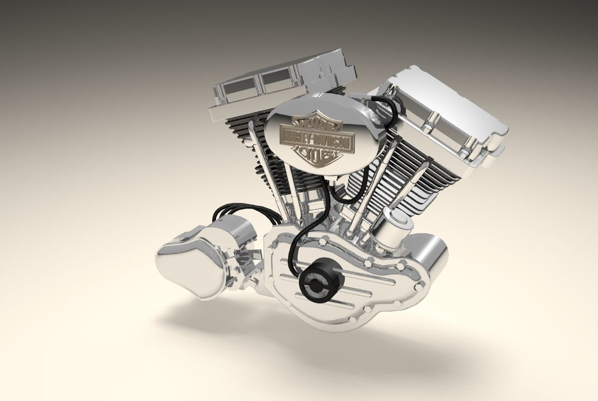 v twin motorbike engine 3d model