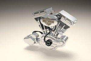 v twin motorbike engine 3d model