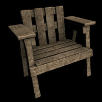wooden chair 3d model