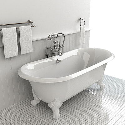 classical bathtub shower 3d model