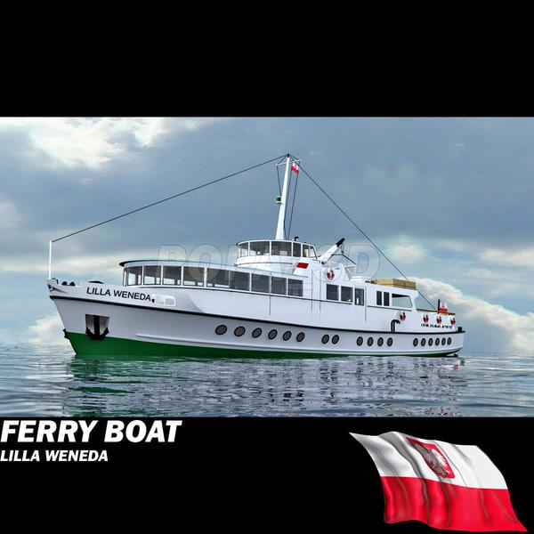 ferry boat lilla 3d model