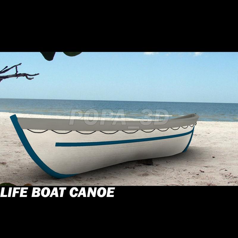 life boat canoe 3d model