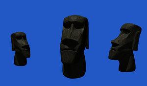 moai statue easter island 3d model