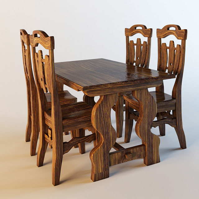 chair table country 3d model