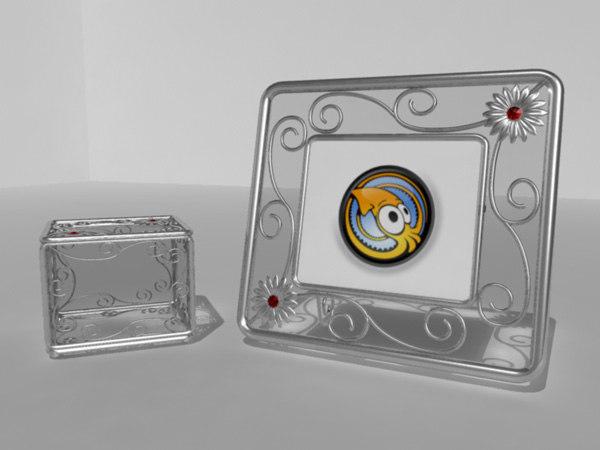 metallic photo frame 3d model