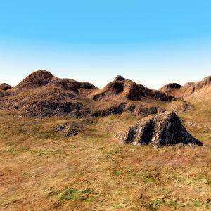 steppe terrain landscape 3d model