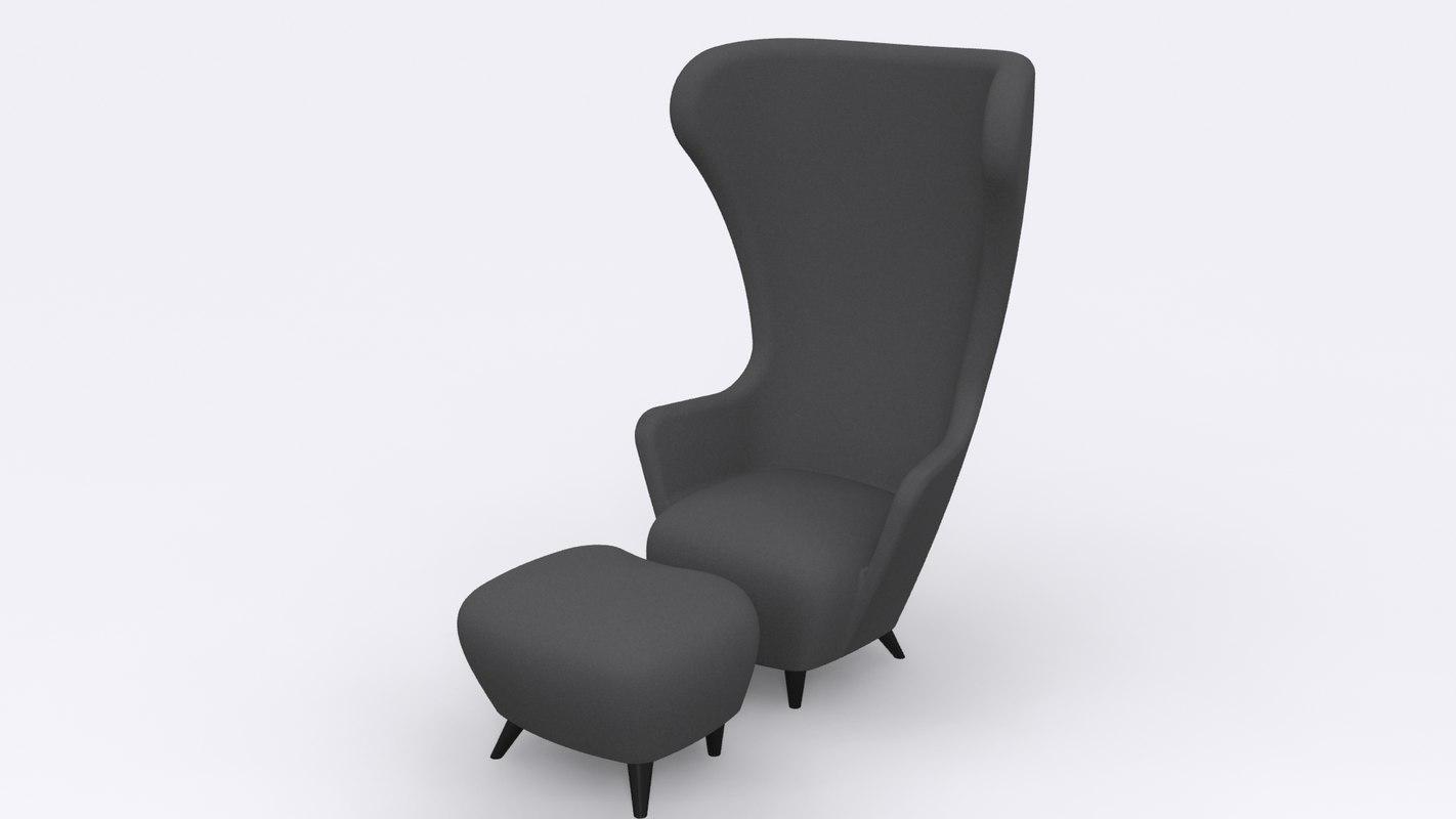 wingback chair stool tom dixon 3d model