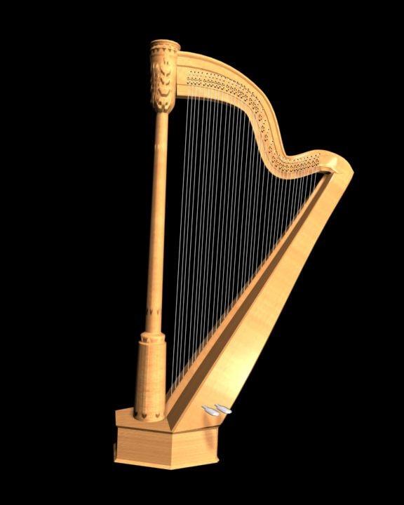 clasical harp 3d model