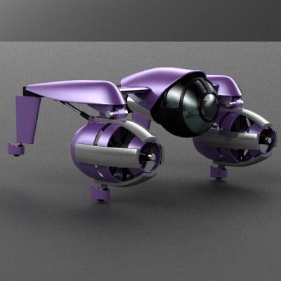 flying car concept 3d model