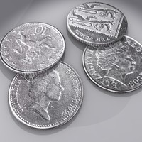 british pence coin 3d model