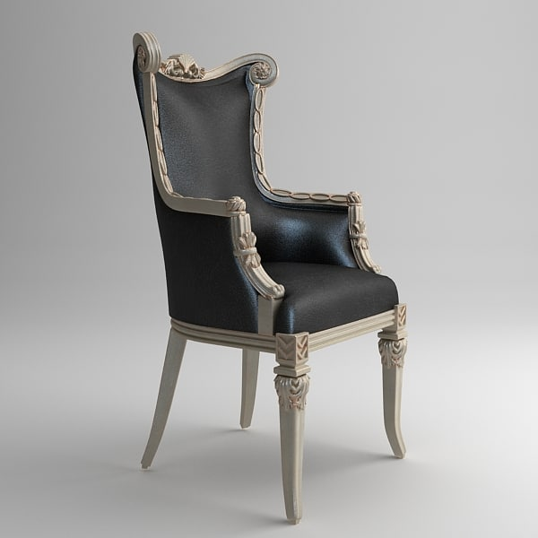 classical ornate leather chair 3d model