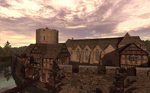 medieval fortified manor house 3d model
