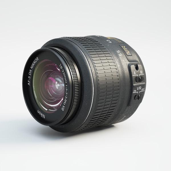 nikon lens nikkor 18-55mm 3d model