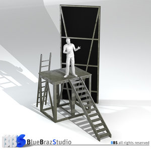 theatre ladders scene 3d model