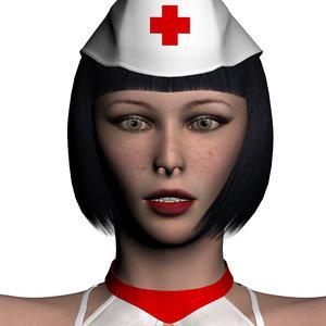 nurse realistic female character human 3d model