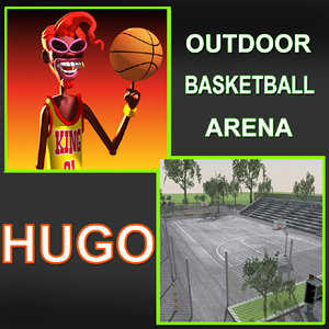 outdoor basketball arena hugo 3d model