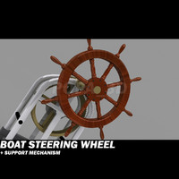 boat wheel mechanism support 3d model