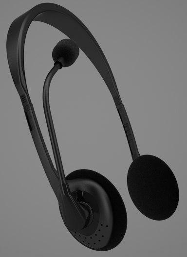 headphone microphone earphone 3d model