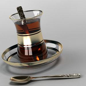 glass turkish tea 3d dwg