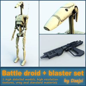battle droid blaster 3d model