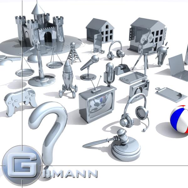 clipart art 3d model