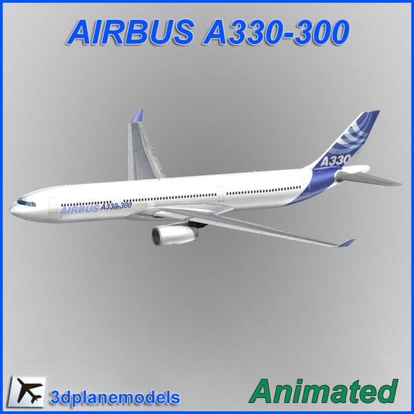 airbus a330-300 aircraft landing 3d model