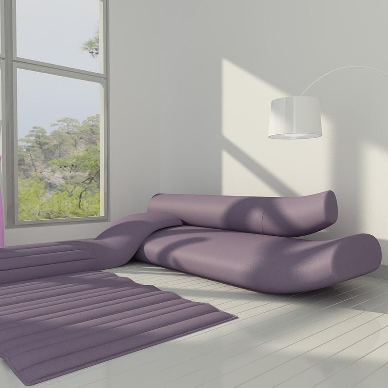 3d Interior Living Room Sofa Model