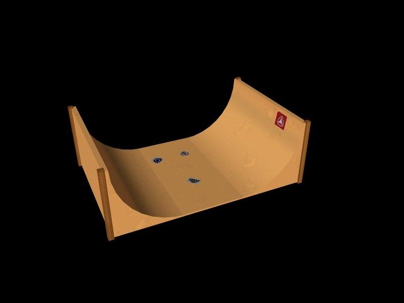 free c4d model half-pipe