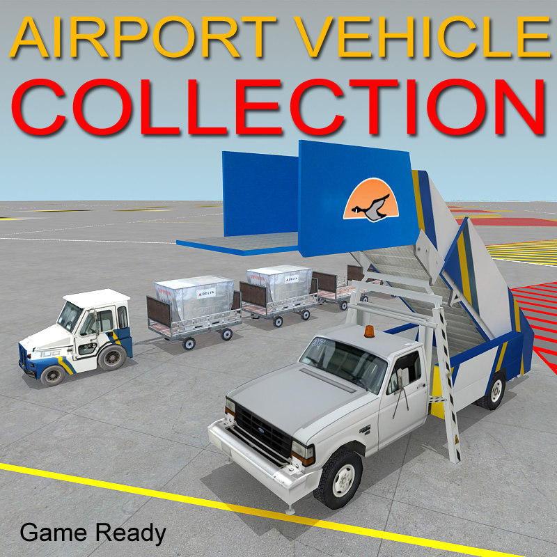 airport vehicle tow stair 3d model