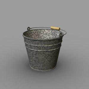 galvanized bucket 3d model