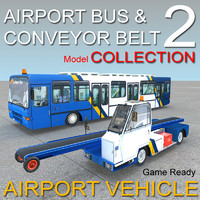 Airport vehicles collection Conveyor Belt and Bus