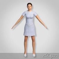 female woman girl 3d model