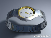 metallic watch ladies 3d model