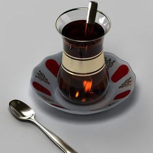 glass turkish tea 3d model